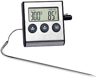 Thermomètre Cuisine LCD numérique Four alarme Thermomètre minuterie de cuisson de cuisson Thermomètre alimentaire avec son...