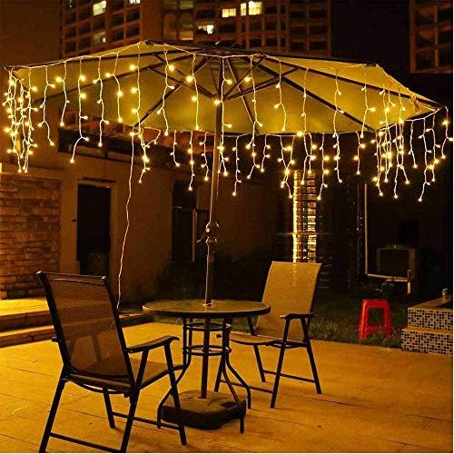 Navidad 3M / 5M energía Solar Cadena de LED carámbano Cortina de luz al Aire Libre Impermeable Cortina de la Secuencia de Las Luces de Vacaciones de Navidad Fiesta de la Boda Festivales