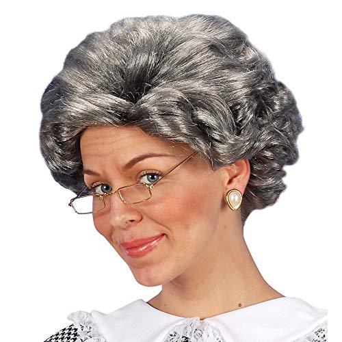 Widmann 5961B - Perücke Agatha, Kurzhaarschnitt, gewellt, grau, Kleidungszubehör, Frisur, Großmutterstil, Karneval, Mottoparty