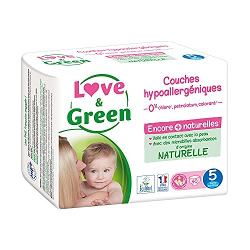 Love & Green - Couches Bébé Hypoallergéniques 0% - Taille 5 (11-25 kg)