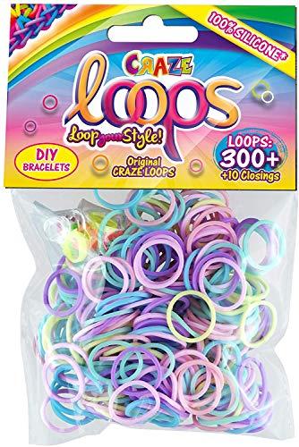 CRAZE Loops 300er Set Knüpfringe Silikonringe Armband Silikon Bänder Gummi Mega US-Trend Verschiedene Farben 51086, Sortierte Farben
