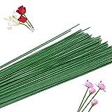 200 piezas de alambre de calibre 22 verde oscuro con tallo floral para manualidades de papel envuelto en papel de alambre artificial para arreglos de flores para bricolaje, accesorios hechos a mano