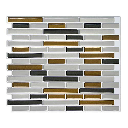 Adhesivos Para Azulejos Pegatina de Pared, Azulejos de Gel, Diseño Ladrillos Rectángulos, Efecto 3d Wallpaper, Autoadhesivo, Decoración para Baño o Cocina, 23.5x28cm, B