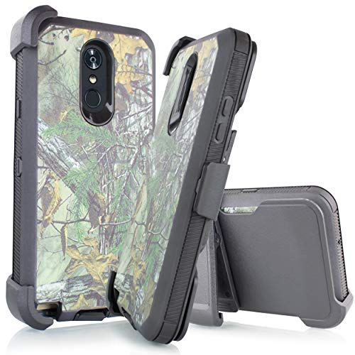 Compatible for LG Stylo 4 Case, LG Stylo 4 Plus Case, LG Q Stylus Case, Holster Belt Clip Phone Case w/Kickstand Built in Screen Protector (Camo Green)
