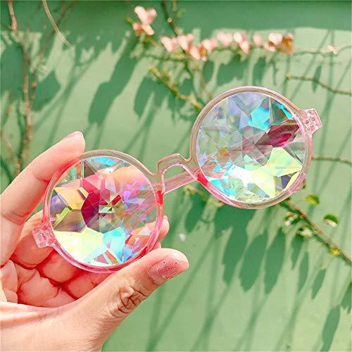 xingxing Gafas redondas transparentes de caleidoscopio, lentes de cristal, para fiesta, fiesta, para hombres, mujeres, fiestas, regalos de reina (color del marco: rosa).