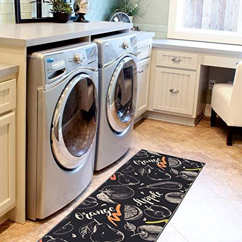 Carvapet 2 Piece Non-Slip Kitchen Rug TPR Non-Skid Backing Mat for Doorway Bathroom Runner Rug Set, Fruit Design (17