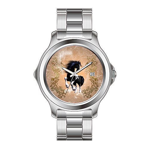 FDC–Navidad Regalo Relojes Hombre Fashion Fecha Acero Inoxidable Reloj de Pulsera de Cuarzo japonés Impresionante Wild Caballo con Flores Elementos Reloj