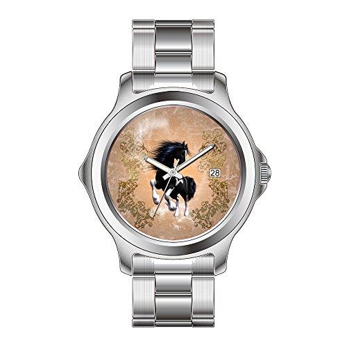 FDC - Reloj de pulsera de acero inoxidable para mujer, diseño de caballo salvaje con elementos florales