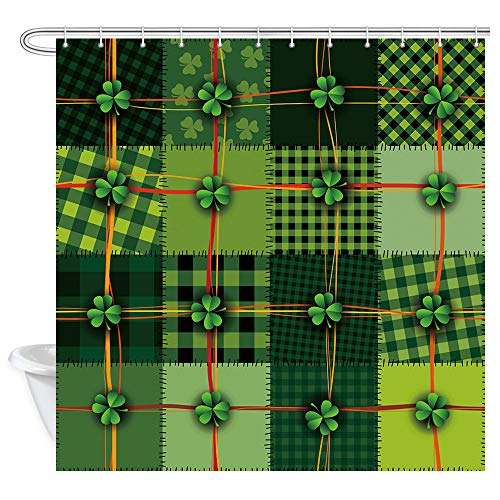 DYNH Happy St Patricks Shower Curtain, St Patricks Day Ireland Celtic Clover Background Patchwork Style Bath Curtains, Polyester Fabric Bathroom Spirng Shamrock Shower Curtain 12PCS Hooks, 69X70IN