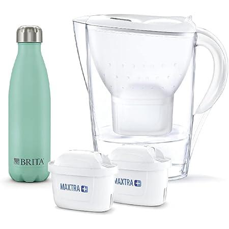 ブリタ 浄水器 ポット 浄水部容量:1.4L(全容量:2.4L) マレーラ COOL ステンレスボトル付 マクストラプラス カートリッジ 2個付き 【日本正規品】塩素 水垢 不純物 除去 ホワイト