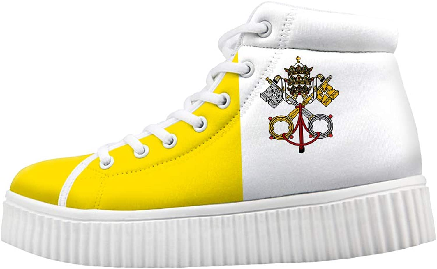 Owaheson Platform Lace up Sneaker Casual Chunky Walking shoes High Top Women Vatican City Flag