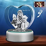 3D Crystal Photo, Personalized Gift With Your Own Photo, Unique Father's Day Gift, Marriage Gift, Memorial Present-Medium Heart with Base