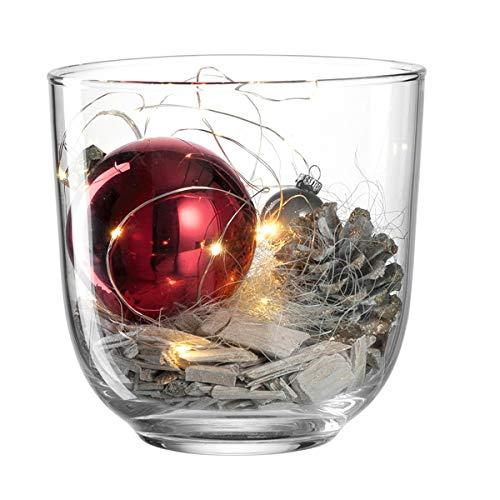 LEONARDO - Windlicht mit weihnachtlicher Dekoration - Rot, Glas - incl. Dekomaterial - Größe (ØxHT): 16 x 16,4 cm