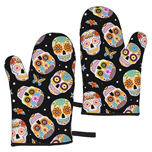 Mayblosom Sugar Skulls Butterfly Oven Mitts,Glove Fashion Microwave BBQ Oven Baking Pot Mitts Cooking Heat Resistant Kitchen (Set of 2 Mittens)