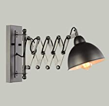 WSW Light Luxury Fashion Vintage Industrial Wall Light Extendable Wall Light Adjustable Flexible Arm Black Metal Wall Lamp...