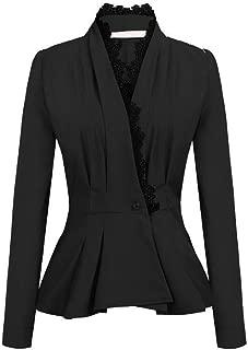 Women OL Style Slim Suit Coat Lace Patchwork Long Sleeve Elegant Blazer