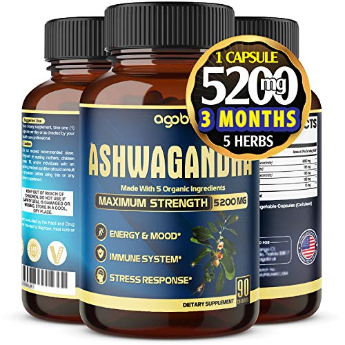 Ashwagandha Powder Capsule 5200mg-Highest Strength Combined with Ginger, Turmeric Curcumin, Rhodiola and Black Pepper-Anxiety Relief, Adrenal, Thyroid, Male Performance Support- 90 Capsules