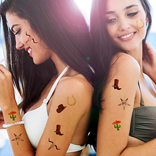 144 Pieces Western Cowboy Temporary Tattoos Western Elemental Stickers with Flannelette Bag Cowboy Party Accessories for Adult Children 6