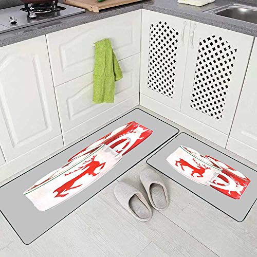 Teepel Kitchen Rugs and Mats 2 Piece Kitchen Floor Rug Watercolor Still Life Red White Circles Cocoa Marshmallow Images Deer Plate Ginger Biscuits Non Slip Kitchen Rug 17'X48'+17'X24' for Home Kitchen
