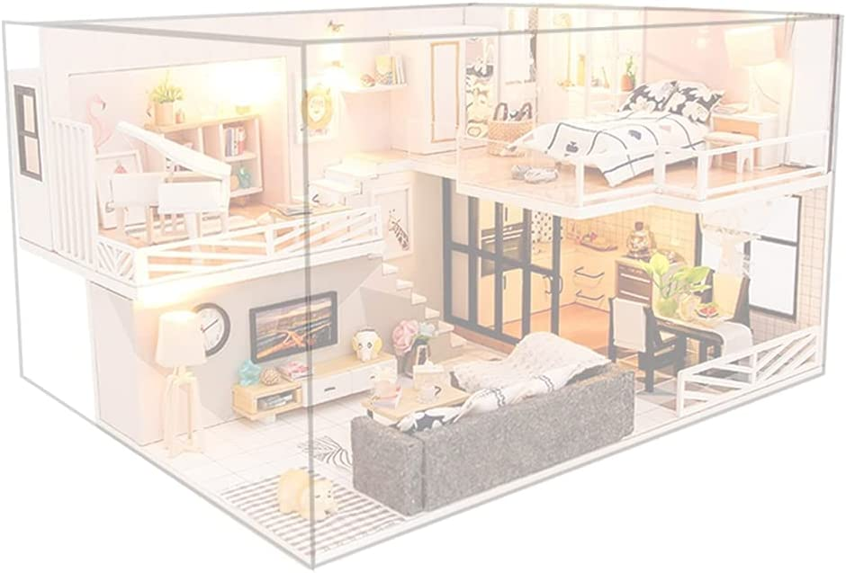 Yiju DIY Dollhouse W/ Furniture Accessory LED Light  Dustproof