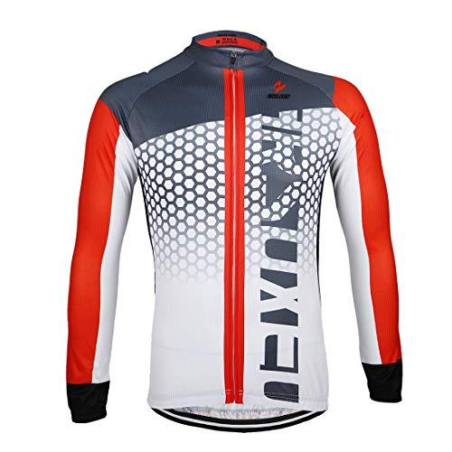 GWELL Herren Radtrikot Langarm Sportshirt Fahrradbekleidung Radsport Langarmshirt für Frühling und Herbst rot L