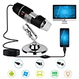 USB Digital Microscope,40X to 1000X Magnification Endoscope Mini Camera with 8 LEDs and Microscope Metal Stand,Compatible with Android, Mac,Window 7 8 10 for Kids, Students, Adults (Black)