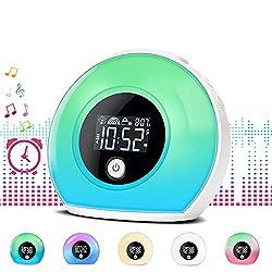 Abealv Night Light Alarm Clock Bluetooth Speaker 5 Colors Wake Up Light Alarms Clock 4 Brightness Dimmable Bedside Table Lamps Bedroom Music Desk Lamp Kids Colorful LED Digital Clocks Player
