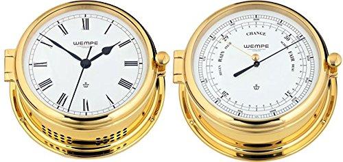 Wempe Serie Admiral II Messing - Quarz-Glasenuhr und Barometer