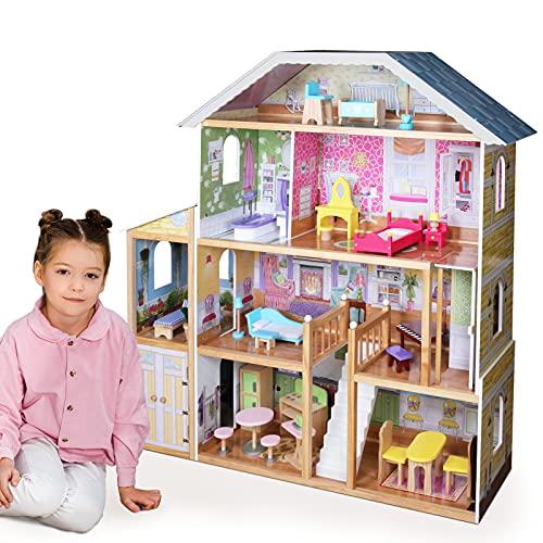 Infantastic® Casa delle Bambole in Legno -119 x 33 x 124cm, 4 Livelli di Gioco, 29 Accessori e Mobili Inclusi, 8 Stanze, per Bambole di 30 cm - Casetta per Bambole
