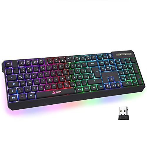 KLIM Chroma Wireless Gaming Tastatur Kabellos QWERTZ DEUTSCH + Langlebig,...