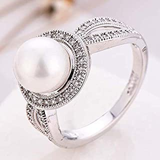 Women Pearl & White Sapphire 925 Sterling Silver Ring Wedding Party Jewelry New Size 6-10 (10)
