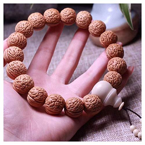 LONGWDS Escultura de nogal de mano, pulsera de nogal chino, artesanía tradicional, adornos de 17 × 15,5 × 17,5 mm