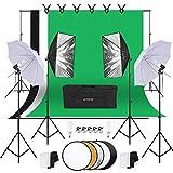 Andoer Unbrella Softbox Kit para fotografía 1.8 x 2.7 m, Juego de iluminación para Pantalla Verde Blanco Negro, con Bombilla, Softbox, Paraguas, Soporte de Fondo, Soporte de luz, Reflector Redondo