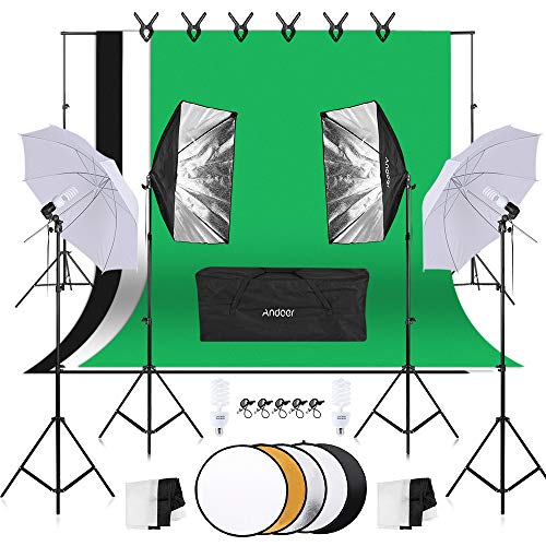 Andoer Photography Lighting Kit, 1.8mx 2.7m Background Support System, 800W 5500K Umbrellas Softbox Continuous Lighting Kit with 5in1 Reflector for Photo Studio, Portrait and Video Shoot