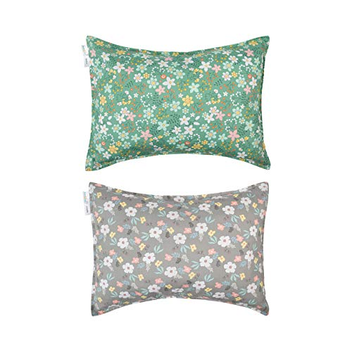 Babygoal Toddler Travel Pillowcases Set of 2, Fits Pillows Sized 13x18, 100% Woven Cotton, Envelope Closure, Machine Washable Kids Pillow Cases 2CFPW04-B