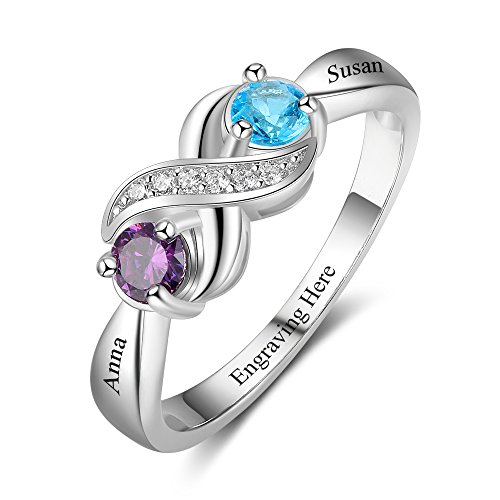 Love Jewelry Personalized Infinity Mothers Ring with 2 Round Simulated Birthstones Engagement Promise Rings for Women (8)
