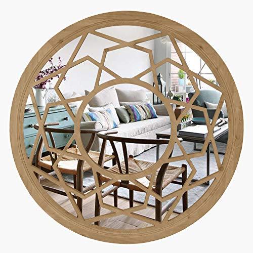 Eono by Amazon Espejo redondo con grano de madera para colgar en la pared para sala de estar, 76,2 x 3,1 x 76,2 cm