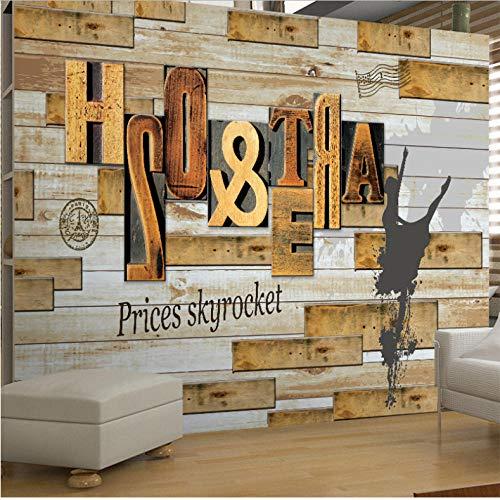 Pbbzl Retro nostalgische houten tip koffie letter behang melk thee winkel kleding decoratie achtergrond muur 250 x 175 cm.