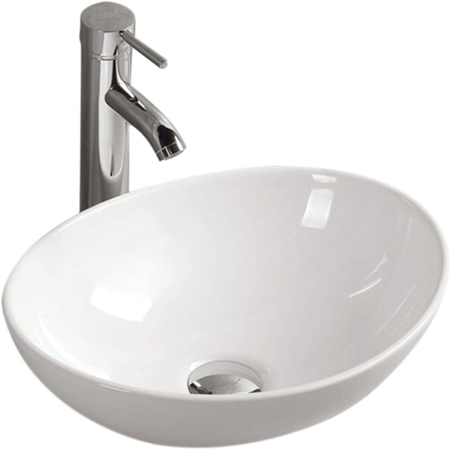 Gimify Lavabos Sobre Encimera Cerámica sin Desbordamiento para el Baño (33*40*14,5cm)
