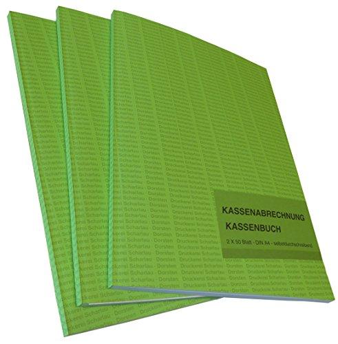 Kassenabrechnung Kassenbuch A4 2x50 Blatt SELBSTDURCHSCHREIBEND
