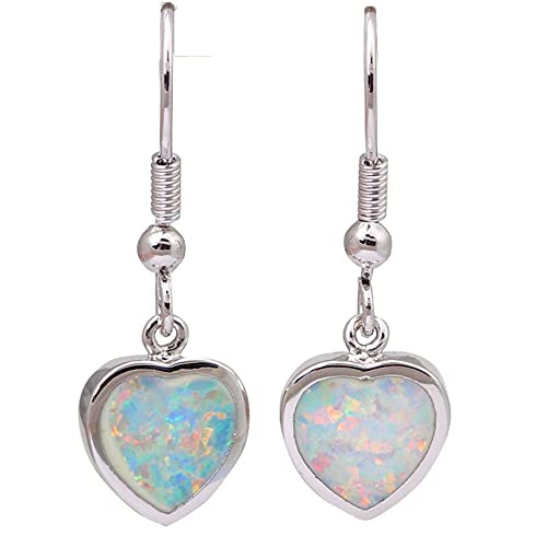 28293f792 Love Gift Unique Design Heart White Opal 925 Sterling Silver Jewelry earrings  for woman bijouterie E287
