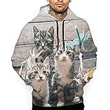 AKKUI Hombre Sudaderas con Capucha,Sudaderas, Men's Origami Crane with Cats 3D All Printed Hooded Pullover with Pocket Casual Hoodies Sweatshirt