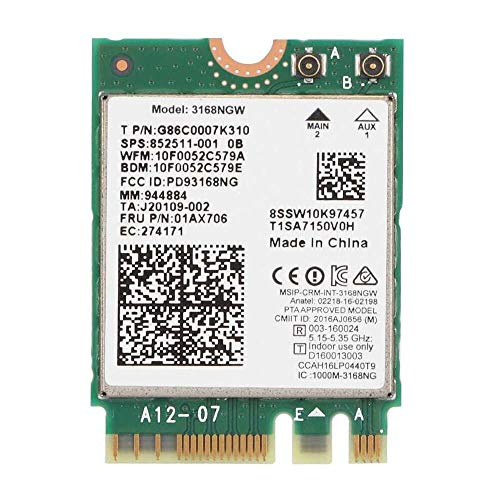 Yuyanshop Tarjeta de red, Wi-Fi Tarjeta Adaptador de Red para Intel Internet 3168NGW Wireless-AC Dual Band WiFi Tarjeta de Red con Bluetooth 4.2