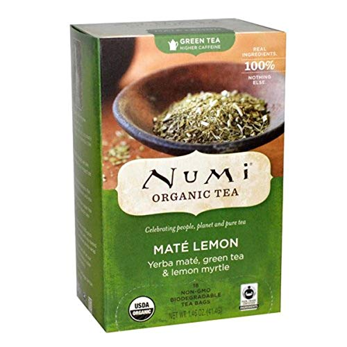 Numi Tea Rainforest Green Tea Supplement, Mate Lemon, 18 Cou