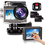 LByzHan 2021 Action Camera 4K with EIS Stabilization 20MP Front Display and Rear Touchscreen Waterproof Underwater Camera Remote Control WiFi Sports Cam for Yotube Vlog Videos 170° Wide Angle