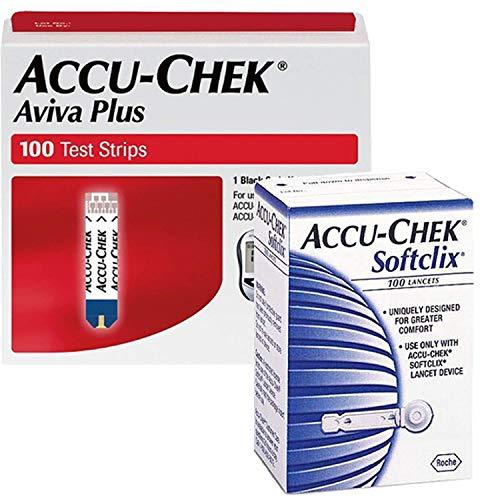 Accu-Chek Bundle - 100 Aviva Plus Test Strips and 102 Softclix Lancets