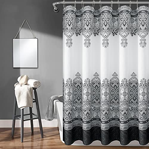 Black Shower Curtain Moroccan Black Shower Curtain Boho Paisley Floral Black and Grey Fabric Shower Curtain Bathroom Bohemian Shower Curtain Sets Elegant Water Repellent 72x72 inch