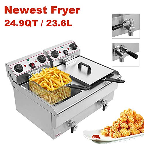 Commercial Deep Fryer 23.26Qt/22L Stainless Steel Electric Fryers with 2 Basket and Professional Heating Element, 110V Oil Consumption 12.7Qt/12L Oil Pan, 5000W Max US Plug (3Type-23.6L)