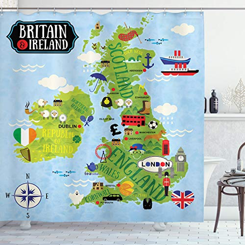 ABAKUHAUS Karikatur Duschvorhang, Karten von Großbritannien Irland, mit 12 Ringe Set Wasserdicht Stielvoll Modern Farbfest & Schimmel Resistent, 175x200 cm, Apfelgrün Hellblau