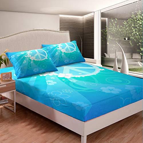 Peace Art - Juego de sábanas para niños y niñas, diseño de hippie, diseño floral, color azul